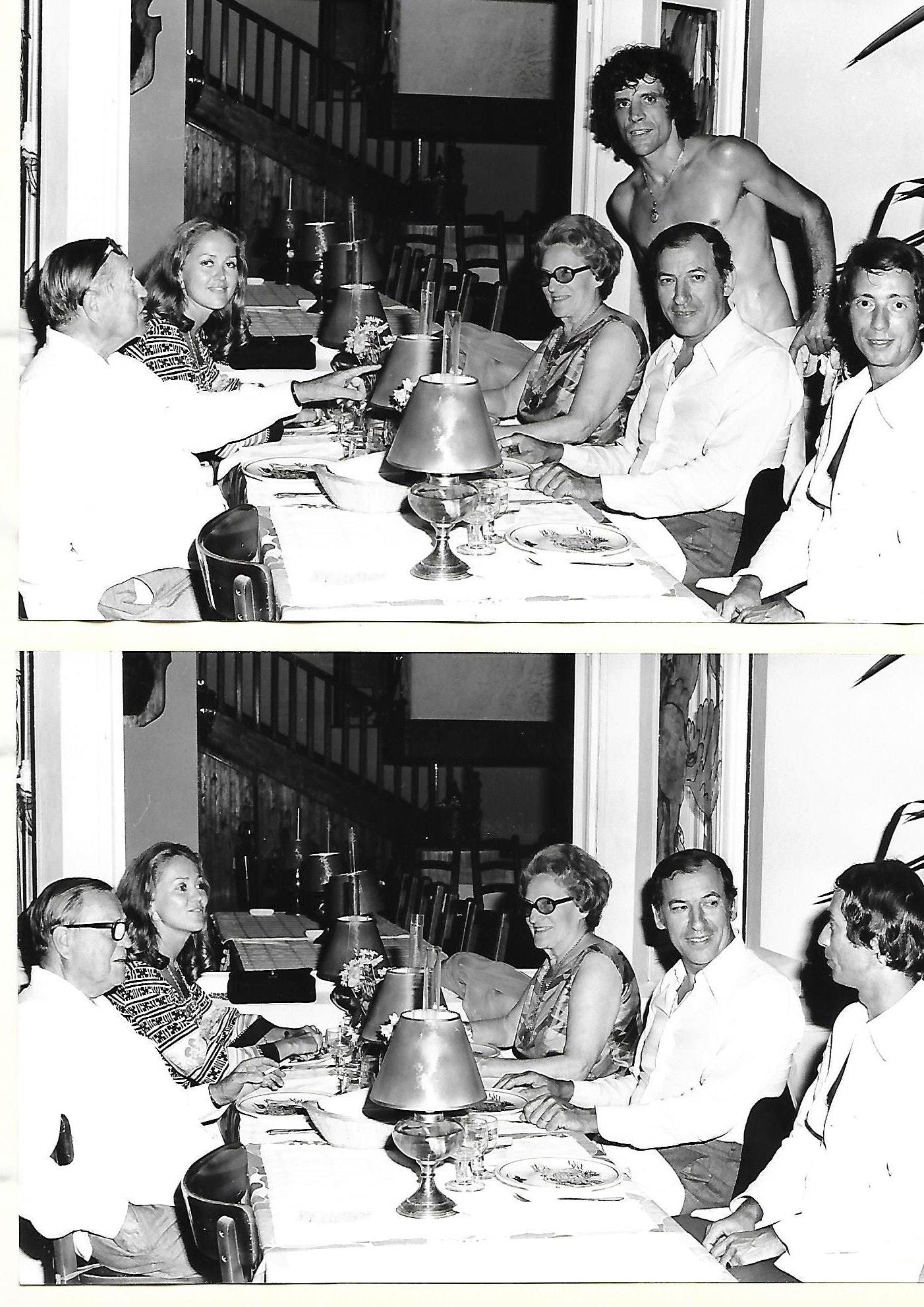 Image Pour la sortie de FLIC STORY Roger Borniche en face son épouse et René Delpêche grand reporter d'affaires criminelles  et son épouse  votre serviteur et le beau Charlie propriétaire du Mayerling au cap martin 1973